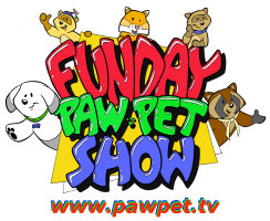 Funday PawPet Show logo. The characters displayed are (L-R) Mutt, Tod Ferret, Arthur, Poink, and Rummage.