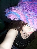 Blade in her purple fuzzy hat