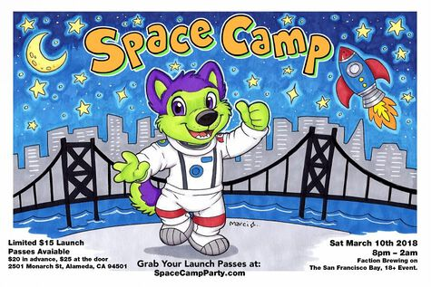 Flyer for the Space Camp party