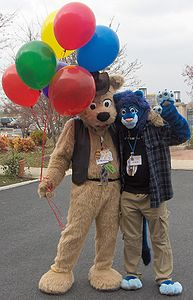 BJ Buttons and Cobalt pose with balloons after the Midwest FurFest 2006 fursuit parade.