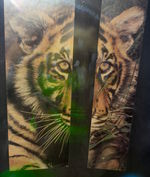 Hologram of a human combined with a picture of a tiger at the MIT Museum