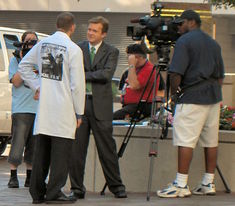Uncle Kage talks to KDKA-TV reporters outside Anthrocon 2006