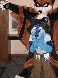 When vampire bats attack! Spunky being terrorized by Furloween's mascot at MFF 2006