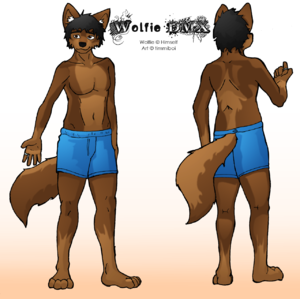 Wolfie character reference sheet, As drawn by Timmiboi
