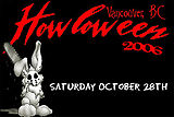 Howloween 2006 banner with chainsaw-toting pink bunny rabbit mascot